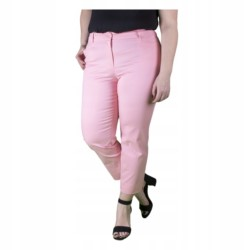 WIZYTOWE spodnie DAMSKIE 7/8 PUDROWE r 40