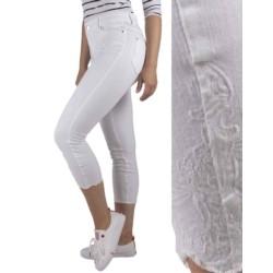 SPODNIE jeansowe RYBACZKI 3/4 strecz HAFT białe 34