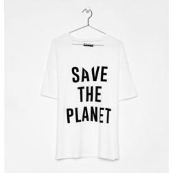 BERSHKA t-shirt oversize SAVE THE PLANET hoker L