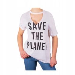 BERSHKA t-shirt oversize SAVE THE PLANET hoker XS