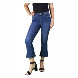 ZARA SPODNIE jeansy DZWONY 7/8 BOHO r 36