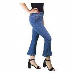 ZARA SPODNIE jeansy DZWONY 7/8 BOHO r 34