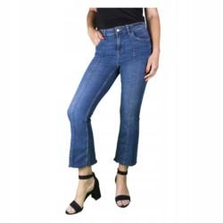 ZARA SPODNIE jeansy DZWONY 7/8 BOHO r 42