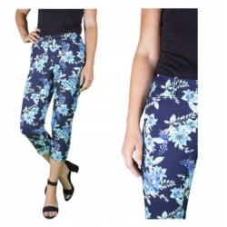 WIZYTOWE spodnie 3/4 CAPRI RYBACZKI W KWIATY r 42