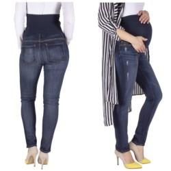 spodnie JEANSY CIĄŻOWE elastyczne Z PANELEM L